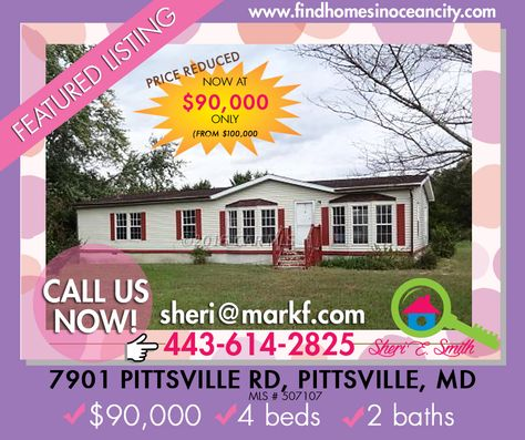 Featured Listing: 7901 Pittsville Rd Pittsville, MD 21850 Price