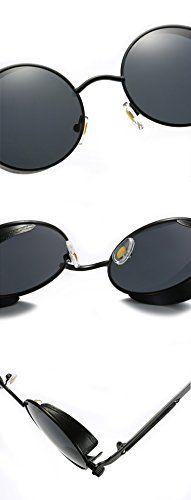 Ronsou Steampunk Style Round Vintage Polarized Sunglasses Retro Eyewear UV400 Protection Matel Frame