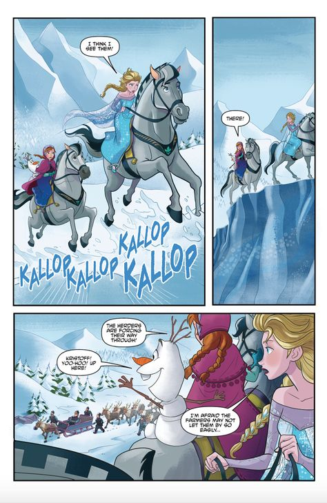 Frozen-inspired comic features Elsa, Anna, and our favorite snowman Olaf on an adventure looking for Kristoff!