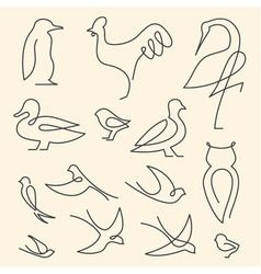 One Line Birds Art Logo Set Vector Image On Vectorstock In 2020 Art Logo Line Art Design Bird Line Drawing