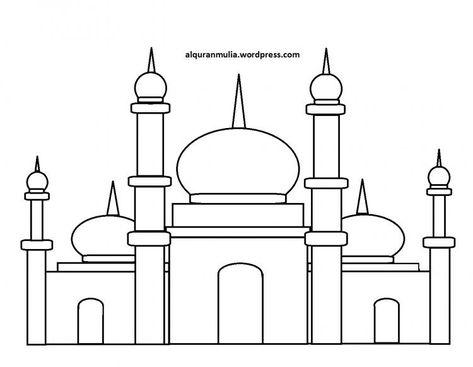 Gambar Mewarnai Masjid Yang Mudah Beserta Contoh Romadecade Menggambar Sketsa Sketsa Warna