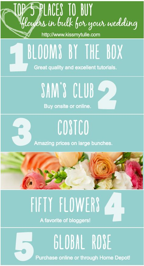 One of the easiest ways to save money on your wedding is to buy your wedding flowers in bulk and DIY them yourself (or hire it out to someone looking to build their portfolio). For our wedding, we bought our flowers in bulk from a local wildflower farm and saved a bundle! Here are my top 5 places to buy flowers in bulk for your wedding: