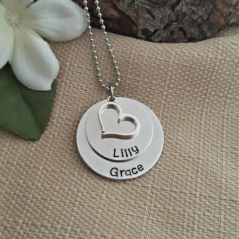c2862b76aa This Mommy Necklace includes two layered discs hand stamped with names or  words of your choice