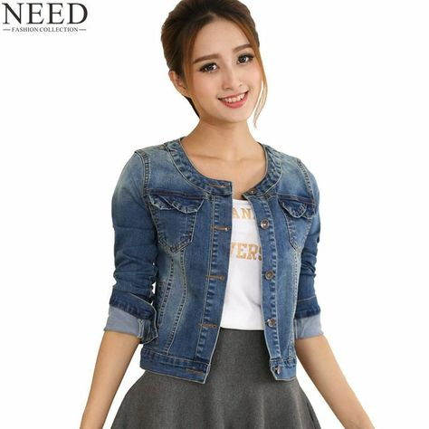 8657605ece2 2018 Autumn Denim Jacket Women Plus Size Long Sleeve O-neck Jeans Jacket  Women D