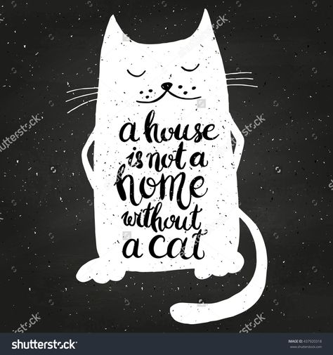 A House Is Not A Home Without A Cat On Chalkboard Hand Drawn