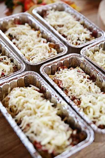 Lasagna Rollups. You make them on the weekend and freeze them to enjoy during the week.
