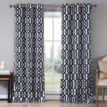 Ashmont Printed Blackout Grommet Pair Panel Walmart Com Panel Curtains Curtains Blackout Panels