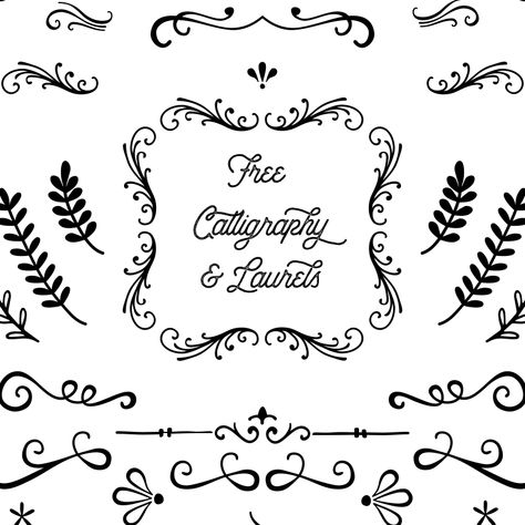 Free Laurels and Calligraphy Shapes - Free Pretty Things For You Cricut Svg Files Free, Cricut Fonts, Free Stencils, Stencil Templates, Calligraphy Templates, Calligraphy Worksheet, Printable Templates, Stencil Designs, Printable Paper