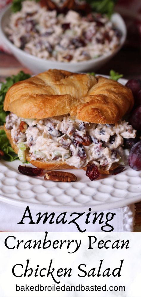 Cranberry Pecan Chicken Salad This cool and breamy chicken salad can be dressed up and served fancy or served on plain white bread. It is slightly sweet and savory all at once and has a nice crunch fr Pecan Chicken Salads, Chicken Salad Recipes, Salad Chicken, Keto Chicken, Recipe For Cranberry Chicken Salad, Chicken Salad On Croissant, Chicken Salad Recipe With Pecans, Chicken Salad With Cranberries, Chicken Salas