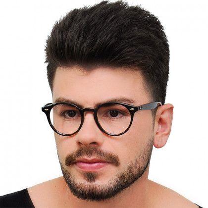 Oculos De Grau Ray Ban Redondo Rx2180 Preto Brilho Medio Otica
