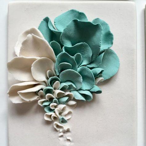 Porcelain Blossom Tile Ceramic Flower Wall Decor White | Etsy