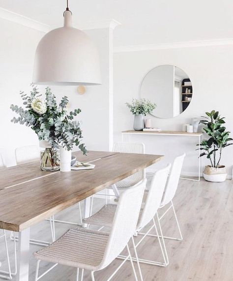 white and minimal dining room #home #style