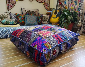 Floor Cushion Large Floor Pillow Cover Masala Square Pouf Cushion Hippie India Floor Seating Multicolor Meditation Cushion With Images Floor Pillows Boho Floor Pillows Floor Cushions