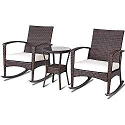 Tangkula Rocking Set 3 Piece Outdoor Patio Porch Garden Backyard Deck All Weather Proof Wicker Furniture Set With Glass Coffee Table Cushioned Rocking Backyard Furniture Patio Furniture Covers Furniture