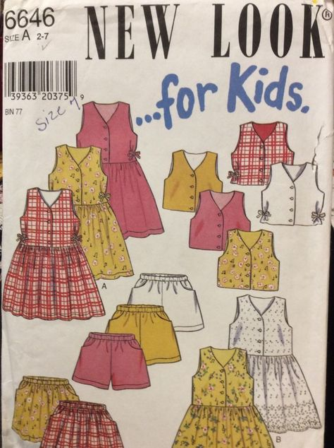 UNCUT New Look Vintage Sewing Pattern Girls Dress Skirt Shorts OOP NEW 6646 2-7