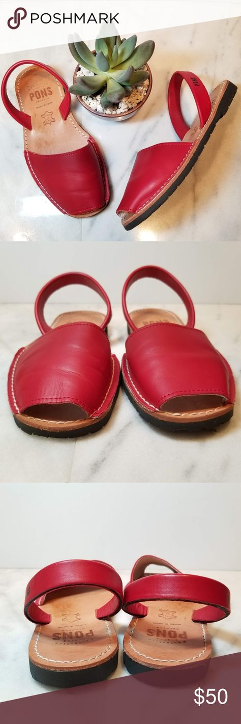 89581c9dcc16 Pons Menorca Red Peep Toe Slingback Avarca Sandal Pons Avarca Sandals