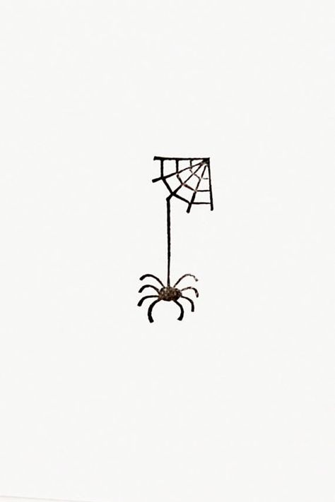 Silhouette spider on web stamp Halloween spooky creature