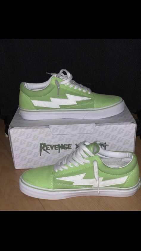 """Revenge X Storm """"Lime Green"""" Girls Sneakers, Sneakers Fashion, Shoes Sneakers, Teen Girl Shoes, Aesthetic Shoes, Hype Shoes, Fresh Shoes, Fashionable Snow Boots, Custom Shoes"""