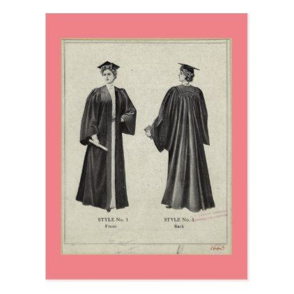 Vintage Graduation Woman In Cap Gown Pink Postcard Zazzle Com Vintage Graduation Cap And Gown Pink Cards