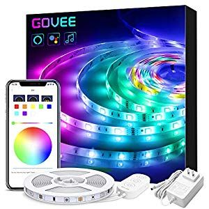 Led Strip Lights Compatible With Alexa Govee Smart Wifi App Control 16 4ft Rgb Light Strip Music Sync 16 Mil Led Strip Lighting Strip Lighting Led Light Strips