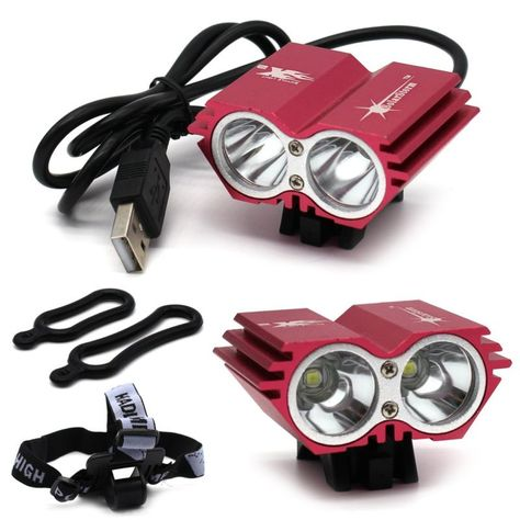 X2 Red USB Connector CREE MX-L T6 LED 5000 LM Cycling Bike Light Lamp Headlight - http://sports.goshoppins.com/cycling-equipment/x2-red-usb-connector-cree-mx-l-t6-led-5000-lm-cycling-bike-light-lamp-headlight/