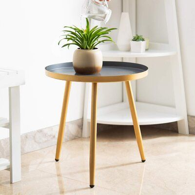 Mercer41 Lofties Tray Top 3 Legs End Table In 2021 Round Side Table Metal End Tables Living Room Table