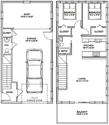 20x40 House 2 Bedroom 1 5 Bath 1 053 Sq Ft Pdf Floor Plan Model 6b Ebay 20x40 House Plans Garage Apartment Plans Building A Container Home