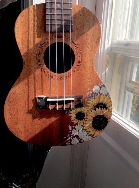 Sunflower Handpainted UkuleleThe post Sunflower Handpainted Ukulele appeared first on Ukulele Music Info. Guitar Design, Painted Ukulele, Ukulele Art, Guitar Art Diy, Guitar Boy, Guitar Painting, Aesthetic Painting, Ideias Diy, Art Hoe