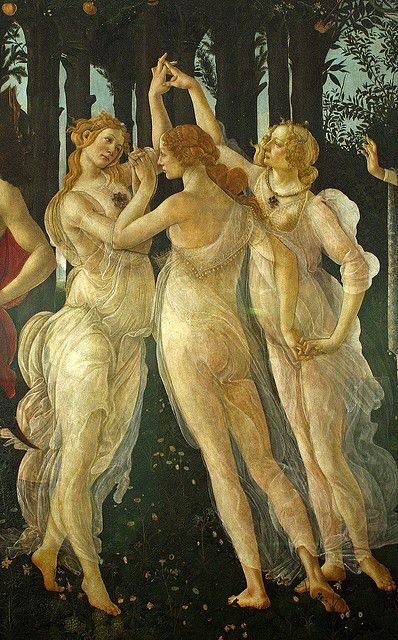 Sandro Botticelli ~ Primavera (detail, The Three Graces), This portion of the painting hangs in the Duke of Ardmore's study. Alison Wonderland, Renaissance Kunst, Renaissance Paintings, Italian Renaissance, Fine Art Posters, John William Waterhouse, Classic Paintings, Famous Art, Classical Art