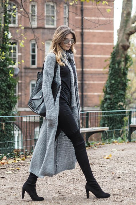 EJStyle - grey maxi cardigan, stuart weitzman high land boots, black skinny jeans, black croc shopper bag, perfect autumn fall outfit