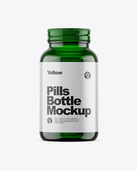 Download Green Glass Bottle With Pills Mockup In Bottle Mockups On Yellow Images Object Mockups Mockup Free Psd Green Glass Bottles Bottle Mockup