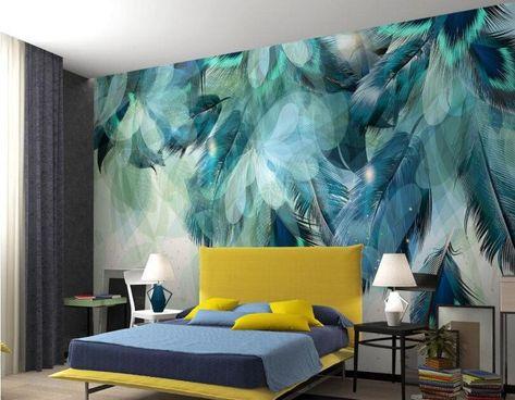 Stylish Modern 3D Blue Feathers Design Photo Wallpaper Home Decor – beddingandbeyond.club