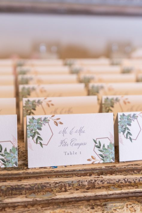 Paper escort cards for a rustic elegant wedding in NJ | Photo: Marquee Photo and Video