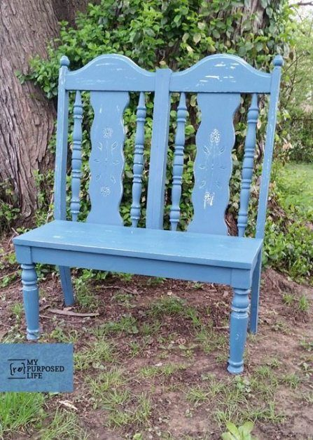 Magnificent Garden Bench From Repurposed Chairs Tv Console Living Dailytribune Chair Design For Home Dailytribuneorg