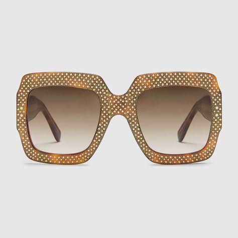 c53406324a1 Oversize square-frame rhinestone  sunglasses.