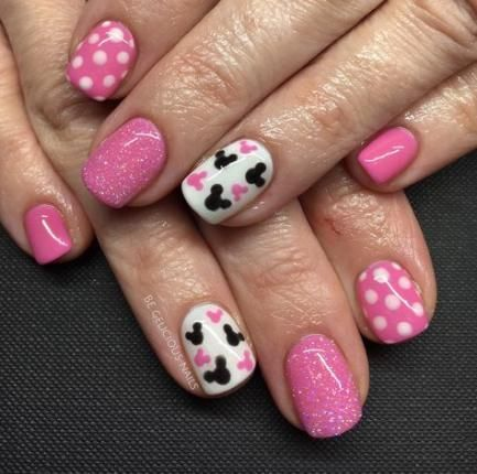 Nails Design Disney Pink 33 Ideas In 2020 Mickey Nails Disney Acrylic Nails Disney Nails
