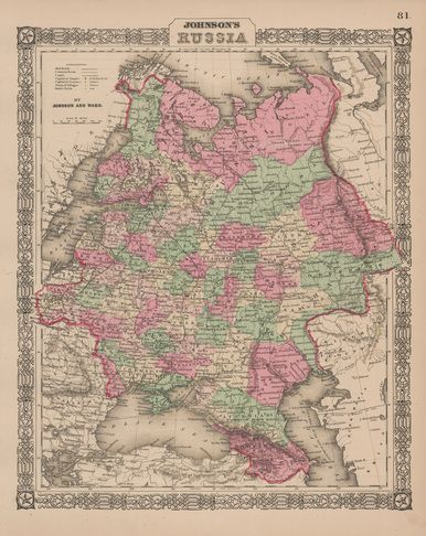 Russia Antique Map Johnson Antique Maps And Russia - Rare old maps for sale