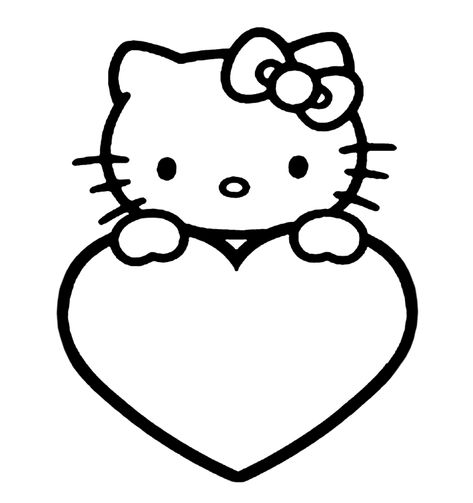 Kleurplaten Met Hello Kitty.Hello Kitty Met Een Hart Kleurplaten Hello Kitty En