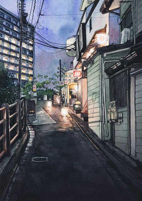 Le Charme Des Rues De Tokyo La Nuit En Aquarelle Ville En