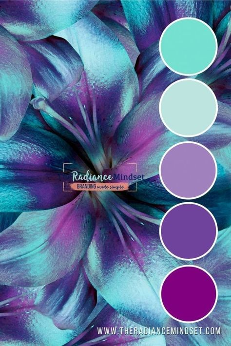 Purple in Marketing: Using Color in Branding Purple Color Schemes, Color Schemes Colour Palettes, Colour Pallette, Color Palate, Turquoise Color Palettes, Purple Palette, Purple Colors, Jewel Tone Colors, Turquoise And Purple