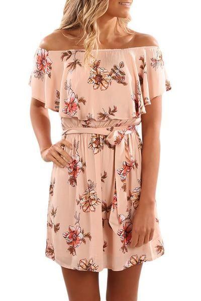 d9c98064883 Onlinechoic Floral Print Pink Off Shoulder A-line Dress