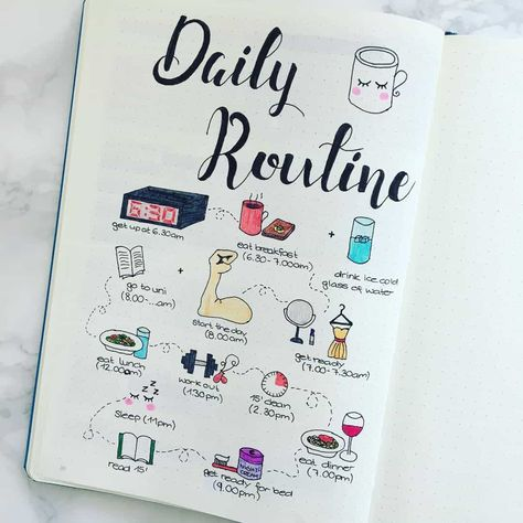 Routine spreads in your bullet journal