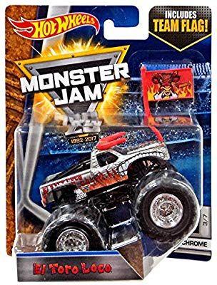 Amazon Com Hot Wheels Monster Jam 1 64 Scale Truck With Team Flag El Toro Loco Chrome Toys Games Monster Jam Hot Wheels Monster Jam Hot Wheels