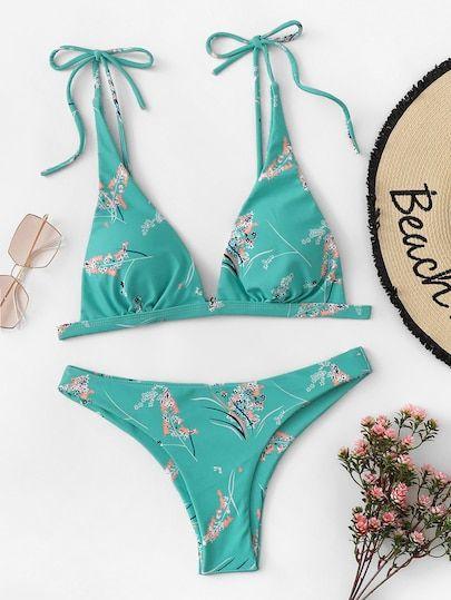 Random Calico Print Bikini Set Moda Biquini Roupa De Banho