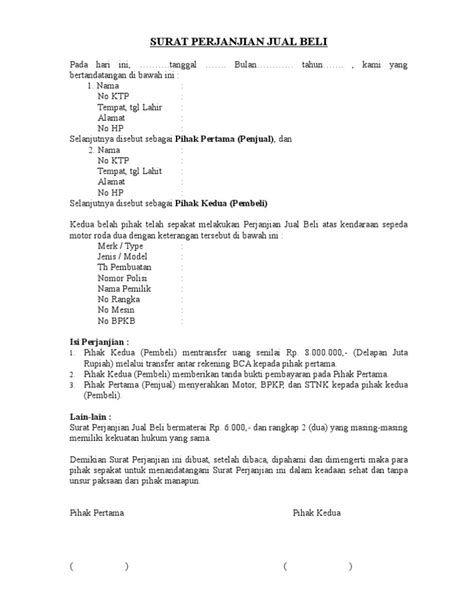 Contoh Surat Perjanjian Jual Beli Sepeda Motor Kredit