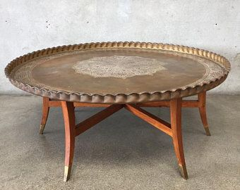 Mid Century Moroccan Style Brass Coffee Table Teznx3 Coffee