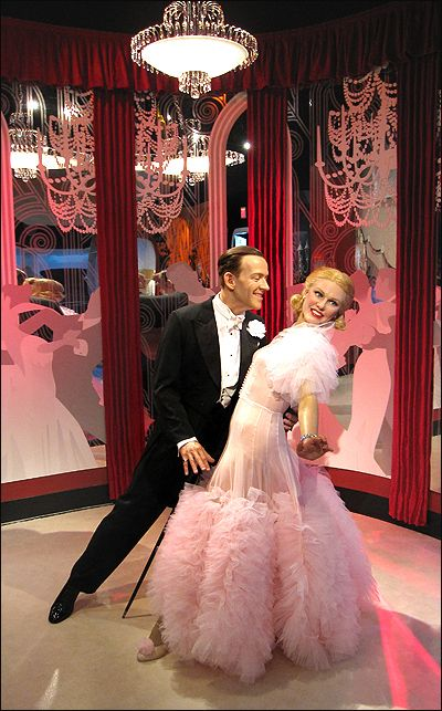 Ginger Rogers and Fred Astaire. Fred did not like that ostrich feather dress. The feathers kept falling off and getting in his face.  :-)