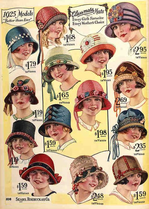 yeoldefashion: An adorable variety of little girls' hats from the Spring-Summer 1925 Sears Catalog. These girls look pretty cute. You know who else would look cute in these hats? Mode Vintage, Vintage Ladies, Vintage Style, Vintage Patterns, Vintage Sewing, Image Mode, 1920s Hats, Vintage Outfits, Vintage Fashion