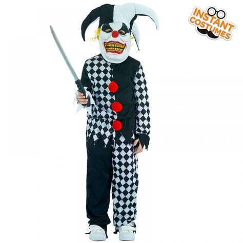 Deluxe Plus Mask Killer Clown Costumes kids Boy Bloody Buffon Role Play Outfits