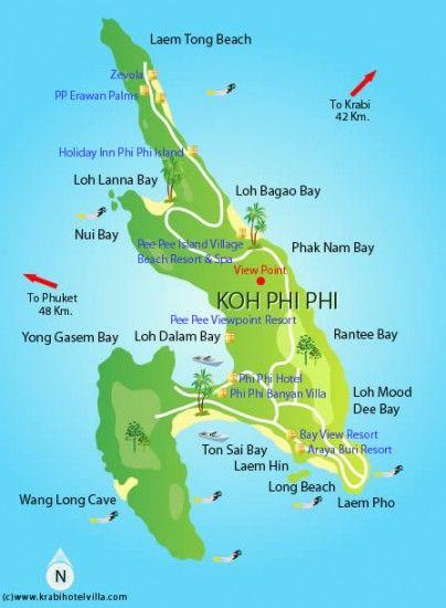Carte Randonnee Thailande.Carte De Koh Phi Phi Thailande En 2019 Thailande Voyage